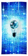 Globe And Light Bulb With Technology Background Beach Towel by Setsiri Silapasuwanchai