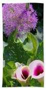Globe Thistle And Calla Lilies Beach Towel by Corey Ford