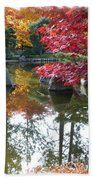 Glorious Fall Colors Reflection With Border Beach Towel