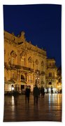 Glossy Outdoor Living Room - Passeggiata On Piazza Duomo In Syracuse Sicily Beach Towel