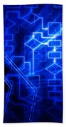 Glowing Blue Flowchart Beach Towel