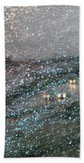 Glowing Raindrops In The City Beach Towel