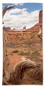 Gnarled Tree At Monument Valley  Beach Towel