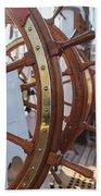 Steering Wheel Of Big Sailing Ship Beach Sheet