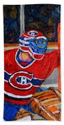 Goalie Makes The Save Stanley Cup Playoffs Beach Towel
