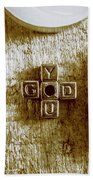 God Is You Metal Lettering Typography Near White Candles, Faith  Beach Towel