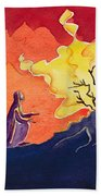 God Speaks To Moses From The Burning Bush Beach Towel by Elizabeth Wang