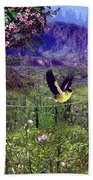 Gold Finch In The Spring Time Beach Towel
