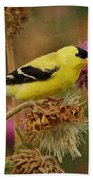 Goldfinch On Thistle Beach Towel