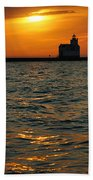 Gold On The Water Beach Towel by Bill Pevlor
