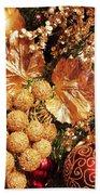 Gold Ornaments Holiday Card Beach Towel
