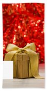 Gold Present With Place Card  Beach Towel