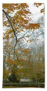 Golden Bus Stop Late Autumn Beach Towel