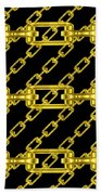 Golden Chains With Black Background Seamless Texture Beach Towel