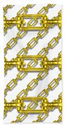 Golden Chains With White Background Seamless Texture Beach Towel