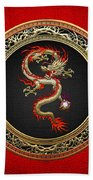 Golden Chinese Dragon Fucanglong On Red Leather  Beach Towel