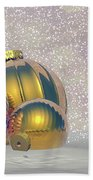 Golden Christmas Balls - 3d Render Beach Towel