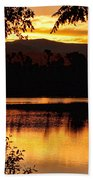 Golden Day At The Lake Beach Towel
