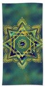 Golden Decorative Star Of Lakshmi - Ashthalakshmi  Beach Towel