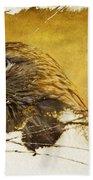 Golden Eagle Grunge Portrait Beach Towel