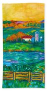 Golden Farm Scene Sketch Beach Towel