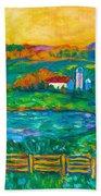 Golden Farm Scene Sketch Beach Towel