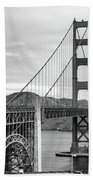 Golden Gate Bridge Black And White Beach Towel