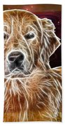 Golden Glowing Retriever Beach Towel