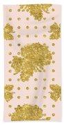 Golden Gold Blush Pink Floral Rose Cluster W Dot Bedding Home Decor Beach Towel