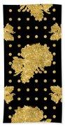 Golden Gold Floral Rose Cluster W Dot Bedding Home Decor Art Beach Towel