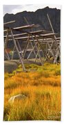 Golden Gras And Fish Drying Rack Beach Towel by Heiko Koehrer-Wagner