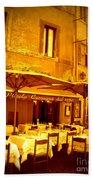 Golden Italian Cafe Beach Towel by Carol Groenen