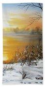 Golden Lake Sunrise  Beach Towel