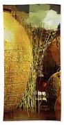 Golden Large Fountain Urns Beach Towel