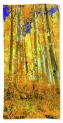 Golden Light Of The Aspens - Colorful Colorado - Aspen Trees Beach Sheet