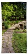 Golden Light On Footbridge Japanese Garden Maymont Beach Towel