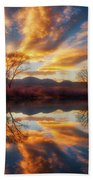 Golden Light On The Pond Beach Towel