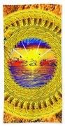Golden Parrot Mandala Beach Towel
