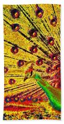 Golden Peacock Beach Towel