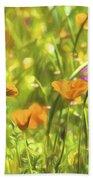 Golden Poppies In A Gentle Breeze  Beach Towel