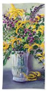 Violet And Gold Beach Towel