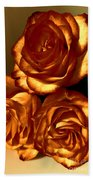 Golden Roses 3 Beach Towel