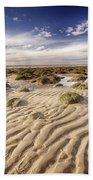 Golden Sand Lines And Seaweed Rocks Of Norfolk Beach Towel