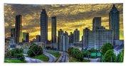 Golden Skies Atlanta Downtown Sunset Cityscape Art Beach Sheet