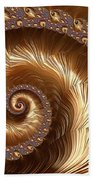 Golden Sparkling Spiral Beach Towel