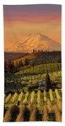 Golden Sunset Over Hood River Pear Orchard Beach Towel
