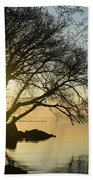 Golden Tranquility - Lacy Tree Silhouettes On The Lake Shore Beach Towel