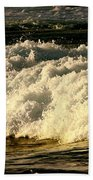 Golden White Wave Beach Towel