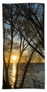 Golden Willow Sunrise - Greeting A Bright Day On The Lake Beach Towel