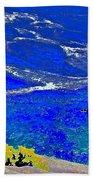 Golden Yarrow Rock Sea Point Lobos Beach Towel